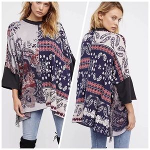 RARE Free People Pieced With Paisley Sweater Tunic